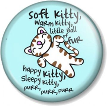 Soft Kitty Warm Kitty Song Pinback Button Badge (Blue - 2) - Big Bang Theory Sheldon Cooper